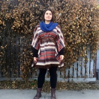 Fringed Blanket into Fall Poncho DIY